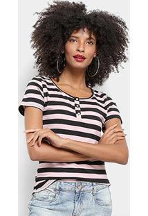 Camiseta Top Modas Listrada Botões Feminina - Feminino-Rosa