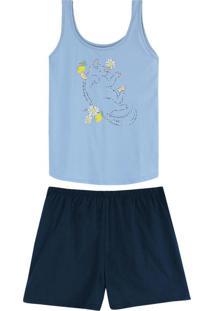 Pijama Azul Claro Gatinho Em Algodão