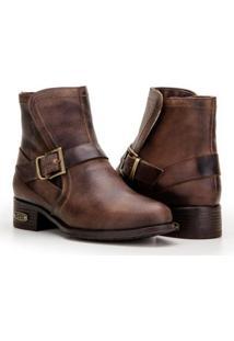 Bota Capelli Boots Couro Cano Curto Com Fivela Feminina - Feminino-Café