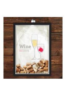 Quadro Caixa Porta Rolha De Vinho 33X43 Cm (Com Led) Lojaria E Nerderia. Red White Wine Preto