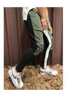 Calça Masculina Slim Chess Detail Duas Cores - Verde E Preto