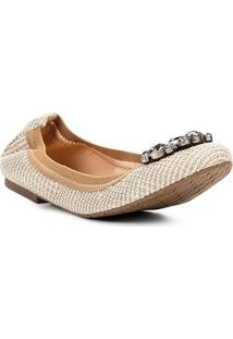 Sapatilha Shoestock Bico Redondo Quadriculada Pedraria Feminina - Feminino-Off White