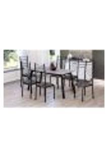 Conjunto De Mesa Com 6 Cadeiras Tathi Preto