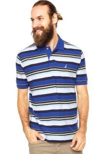 Camisa Polo Nautica Contraste Azul/Branco