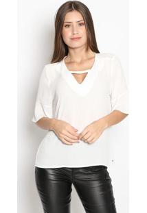 Blusa Com Vazado- Branca- Guessguess
