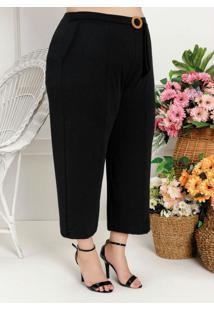 Calça Plus Size Preta Com Faixa E Fivela