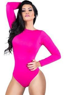Body Feminino Collant Manga Longa Costa Nua Decote Blusa Mvb Modas - Feminino-Rosa