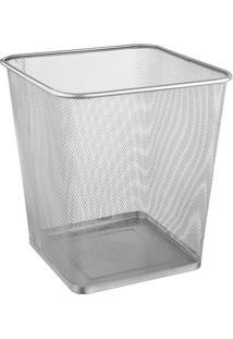 Lixeira De Metal Quadrada Branca 16,5 Litros