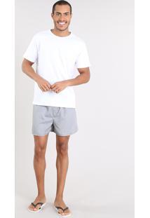 Pijama Masculino Com Camiseta Manga Curta + Samba Canção Estampada Xadrez Branco