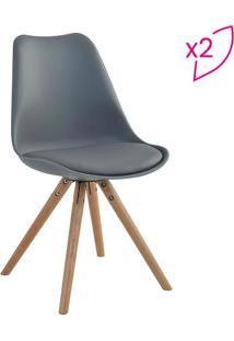 Conjunto De Cadeiras Luisa- Cinza & Marrom Claro- 2Privatti