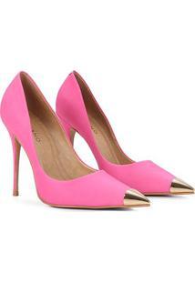Scarpin Couro Carrano Salto Alto Bico Metalizado - Feminino-Pink