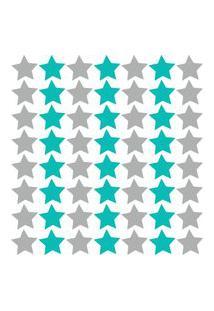 Adesivo De Parede Estrelas Cinza E Turquesa 54Un