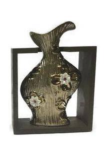 Vaso Decorativo Cerâmica Suporte Madeira Maraú Cor Bronze