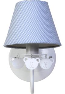 Arandela 1 Lâmpada Ursinhos Quarto Infantil Menino Potinho De Mel Azul