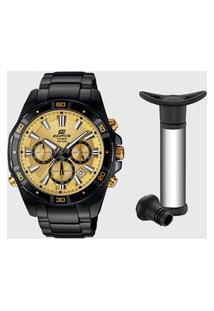 Relógio De Pulso Masculino Edifice C/ Pulseira Em Aço Inoxidável + Acessório Para Vinho Preto/Dourado