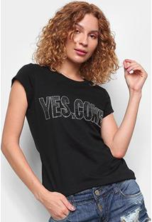 Camiseta Coca Cola Yes Coke Feminina - Feminino-Preto