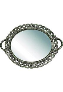 Bandeja Oval Espelhada Trancada Cinza