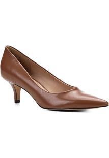 Scarpin Couro Shoestock Salto Baixo Bico Fino - Feminino-Caramelo