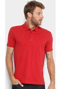 Camisa Polo Ellus Piquet Mini Print Masculina - Masculino-Vermelho