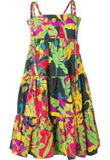La Doublej Vestido Evasê Color Block - Preto