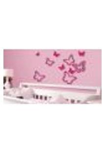 Adesivos De Parede Borboleta 3D Glitter Rosa - Dellodecor