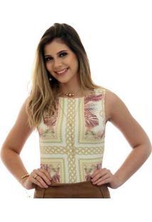 Regata Ficalinda Decote Canoa Feminina - Feminino-Bege+Dourado