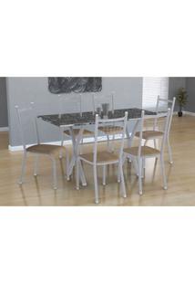 Conjunto De Mesa Miame 150 Cm Com 6 Cadeiras Lisboa Branco E Nature Bege