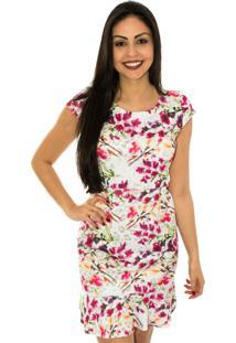 Vestido Capim Canela Peplum Floresta Rosa