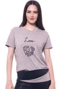 Camiseta Estonada Feminina Joss Love - Feminino-Cinza