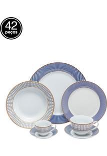 Aparelho De Jantar Wolff Porcelana 42 Peças Geométrico Azul