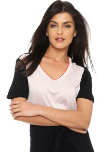 Camiseta Calvin Klein Bicolor Preta/Rosa