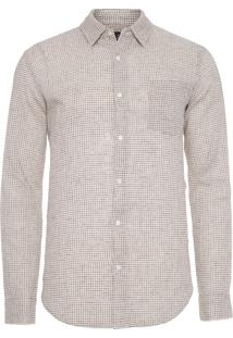 Camisa Masculina Thin Plaid - Bege