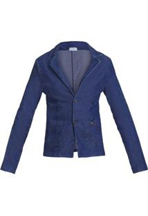 Blazer Quintess Social Jeans Azul - Azul - Feminino - Algodã£O - Dafiti
