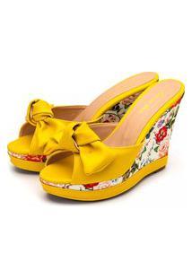 Sandália Tamanco Anabela Salto Alto Em Napa Amarelo Com Floral Primavera