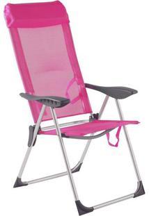 Cadeira Alta De Praia Bel Lazer 5 Posições Alumínio Rosa