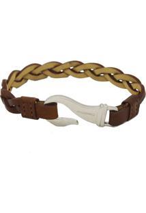 Bracelete Masculino Em Couro Com Gancho Em Aço Italiano - Kanui