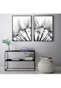 Quadro Oppen House 70X100Cm Flores Folhas Dente De Leão Sementes Decorativo Interiores Sala De Estar Quartos Moldura Preta Com Vidro