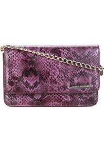 Bolsa Couro Jorge Bischoff Mini Bag Animal Print Alça Corrente Waxy Snake Feminina - Feminino-Roxo