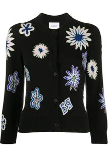 Barrie Cardigan Com Estampa Floral - Preto