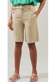Bermuda Mx Fashion De Sarja Flaviane Bege - Tricae