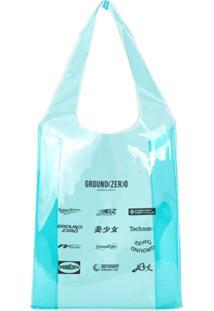 Ground Zero Bolsa Tote Transparente Com Estampa Monograma - Azul