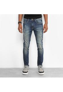 Calça Jeans Skinny Cavalera Used Rasgos Masculina - Masculino-Azul