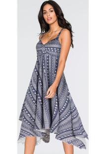 Vestido Com Barra Assimétrica Étnico Azul