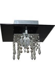 Plafon De Vidro Com Cristal Para 01 Lâmpada - Aceita Lâmpada De Led - Preto
