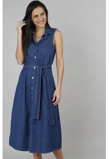 62a57e4364 CEA. Vestido Jeans Feminino Midi Sem Manga Azul Escuro