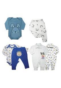 Kit Roupas De Bebê Maternidade 6 Peças Mini Enxoval Algodáo Azul