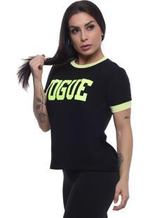 T-Shirt Tee Fashion Vogue Preto
