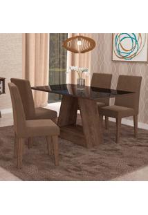Conjunto De Mesa De Jantar Retangular Alana Com Vidro E 4 Cadeiras Milena Suede Chocolate E Preto