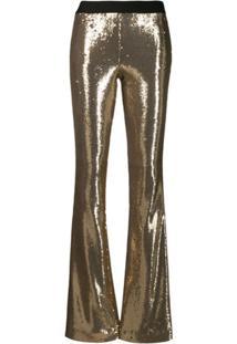 P.A.R.O.S.H. Calça Bootcut Com Paetês - Dourado
