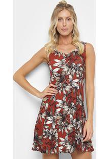 3649945863 ... Vestido Ms Fashion Evasê Curto Floral - Feminino-Vinho